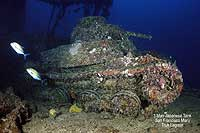 3-man japanese tank on the deck of the San Francisco Maru